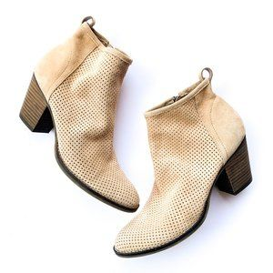 Dolce Vita Light Brown Tan Laser Cut  Suede Boots